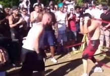 Luptă clandestină cu un final extrem de spectaculos: Boxer vs Luptător de Muay Thai. Voi pe cine mizați?
